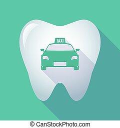 icône, taxi, long, ombre, dent