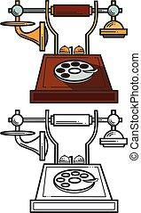 icône, telephone., blanc, vecteur, silhouette, illustration, arrière-plan., vendange, isolé, noir