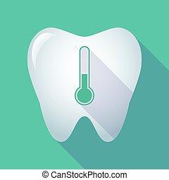 icône, thermomètre, long, ombre, dent