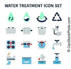 icône, traitement, eau