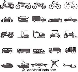 icône, transport, vecteur, set.