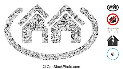 icône, trappe, maisons, secteur, collage
