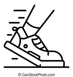 icône, triathlon, contour, style, chaussure