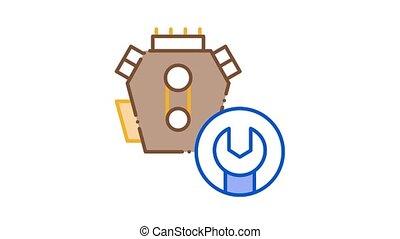 icône, turbine, animation, réparation