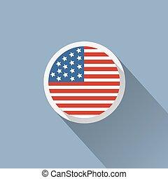 icône, usa, bouton, drapeau