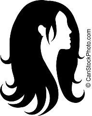 icône, vecteur, cheveux