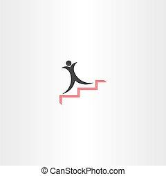 icône, vecteur, escalier, reussite, homme