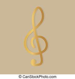 icône, -, vecteur, illustration, clef, triple