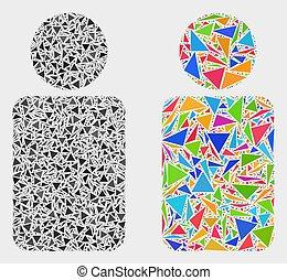 icône, vecteur, triangles, mosaïque, homme