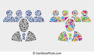 icône, vecteur, triangles, mosaïque, patron