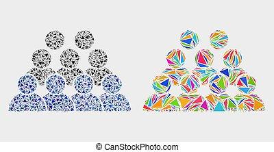 icône, vecteur, triangles, mosaïque, personnel