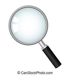 icône, vecteur, verre, magnifier