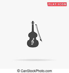icône, vecteur, violon, plat