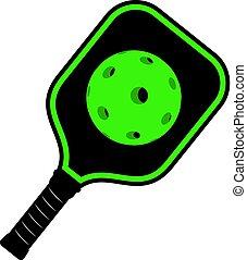 icône, vert, raquette, pickleball
