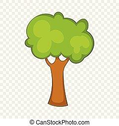 icône, vert, style, arbre, dessin animé