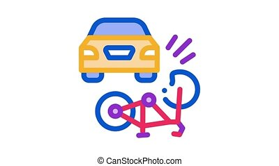 icône, voiture, animation, accident, vélo