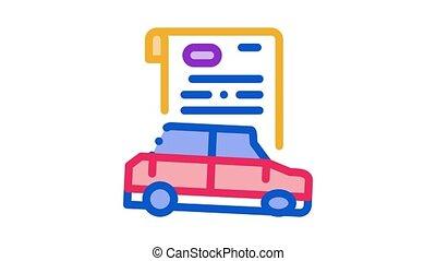 icône, voiture, animation, assurance