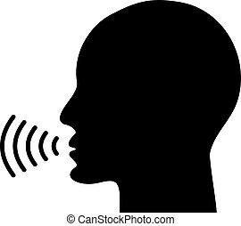 icône, voix, conversation