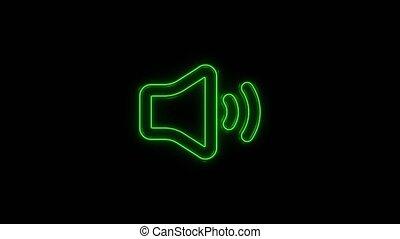 icône, voix, -, symbole, incandescent, musique, orateur, son, isolé, noir, volume, ligne, média, néon, arrière-plan., 4k, audio