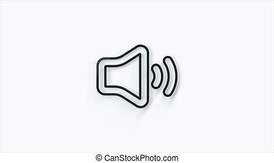 icône, -, voix, symbole, musique, blanc, orateur, son, isolé, volume, 3d, 4k, média, arrière-plan., audio