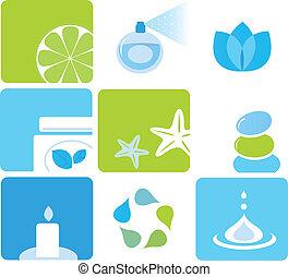 icônes, éléments, naturel, produits de beauté, -, vert, spa, bleu