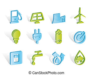 icônes, énergie, puissance, écologie