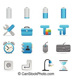 icônes,  , 01, indigo, série, informatique