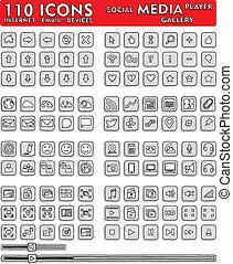 icônes, 110, hand-drawn, social, -, média