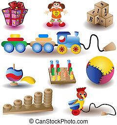 icônes, 2, -, noël, jouets