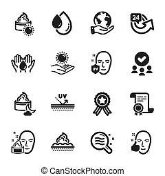 icônes, 24, ensemble, tel, hours., condition, soin, beauté, peau, vecteur