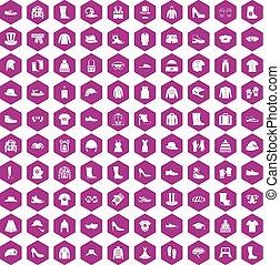 icônes, accessoires, violet, 100, hexagone, habillement