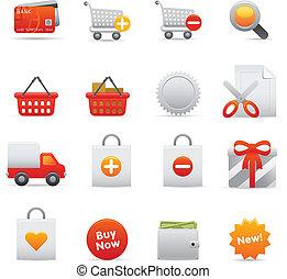 icônes,  , achats, 01, série, ensemble, rouges