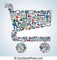 icônes, achats, propriété, service, charrette, forme