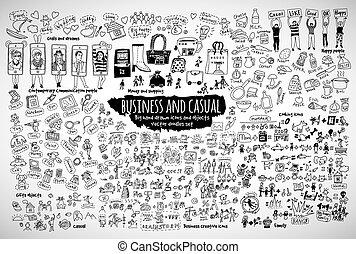 icônes, affaires désinvoltes, objects., paquet, doodles, grand