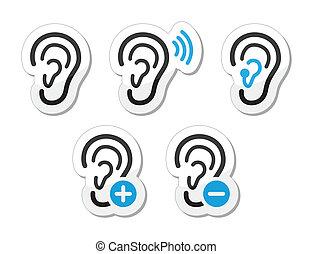 icônes, aide, sourd, problème, oreille, audition
