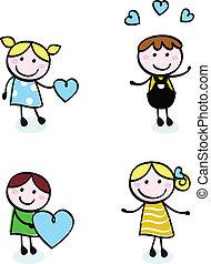 icônes, amour, griffonnage, retro, isolé, gosses, point, blanc