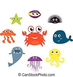 icônes, animaux, mer, isolé, vecteur, créatures, blanc
