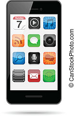 icônes, app, smartphone