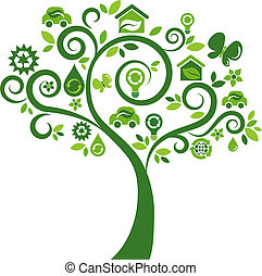 icônes, arbre 2, -, écologique