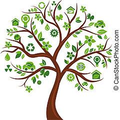 icônes, arbre 3, -, écologique