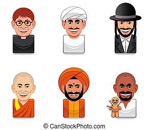 icônes, avatar, gens, (religion)