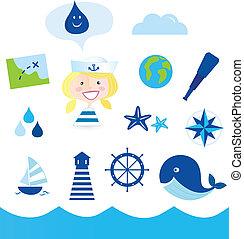 icônes, aventure, nautic