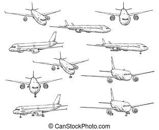 icônes, avion, civil, croquis, aviation, avion