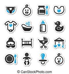 icônes, bébé, ensemble, vecteur, enfance