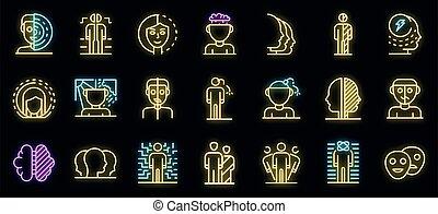 icônes, bipolaire, ensemble, vecteur, néon, désordre