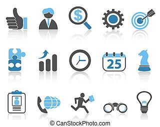 icônes, bleu affaires, ensemble, série