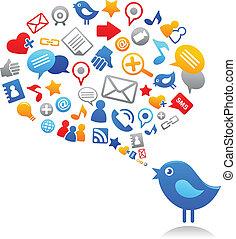 icônes, bleu, social, oiseau, média
