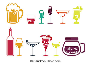icônes, boisson, alcool, ensemble, boisson