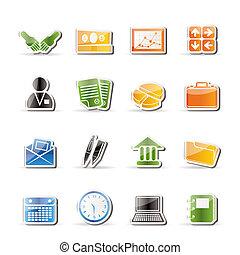 icônes, bureau, business, simple