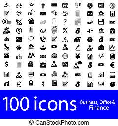 icônes, business, bureau